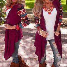 Women Boho Irregular Long Sleeve Knitted Cardigan Outwear Loose Jacket Coat Tops #Unbranded #Blouse