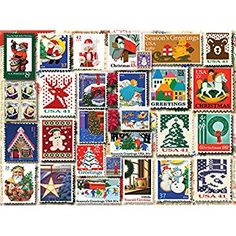 Enjoy a quiet night in with this White Mountain Puzzles Christmas Stamps - Jigsaw Puzzle. Norman Rockwell Christmas, Christmas Puzzle, Puzzle Toys, Retro Toys, Toy Store, Christmas Greetings, Puzzle Pieces, 1000 Piece Jigsaw Puzzles, Creative