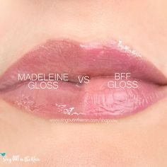 Compare BFF vs. Madeleine LipSense Gloss using this photo.  BFF Gloss is part of the Candy Hearts Scented LipSense Collection by SeneGence.