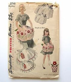 Vintage 1950s Apron Pattern Simplicity 3741 Kitschy Mother Daughter Fashion | eBay