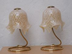 Pair Murano Hand Made Glass Handerchief Floral Gold White Dresser Lamps