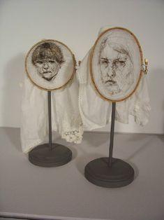 Leslie Schomp+Self-Portrait with Son: Hair on Cloth, embroidery hoops, wood Textile Fiber Art, Textile Artists, Contemporary Embroidery, Contemporary Art, A Level Art, Embroidery Art, Embroidery Hoops, Art Sketchbook, A Level Textiles Sketchbook