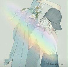 Anime Girl White Hair Rainbow