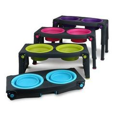 Adjustable pet feeder ----  Pricey at USD$44.99, but if you travel with larger dogs this could be useful  ----  PavL