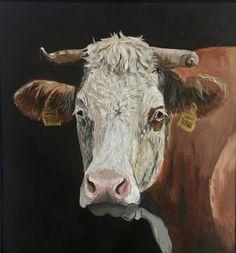 2016, Öl/Leinwand, 80x60x1,8 cm mit Lattenrahmen rückseitig gestempelt signiert #kuhbilder #Kühe Christian, Animals, Atelier, Cow Pictures, Canvas, Animales, Animaux, Animal, Animais