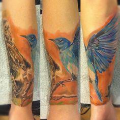 by Radu Rusu I Tattoo, Cool Tattoos, Tatoos, Awesome Tattoos, Bluebird Tattoo, Blue Bird, Tattoo Designs, Tattoo Ideas, Sleeve Tattoos