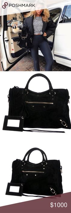 a9665e8e8c9 Black suede balenciaga city bag Authentic Balenciaga City Bag purchased  from luxury consignment store The Real