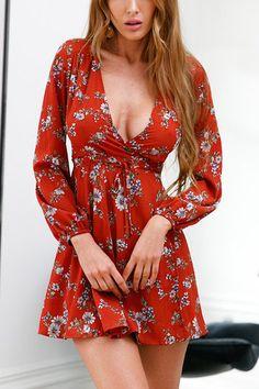 Rust Cross Front Deep V-neck Floral Print Mini Dress