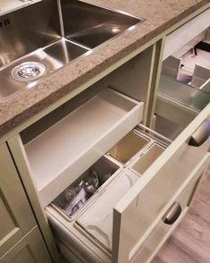 Kitchen Island Storage, Kitchen Appliance Storage, Kitchen Cabinet Drawers, Modern Kitchen Cabinets, Kitchen Tops, Kitchen Cabinet Design, Interior Design Kitchen, Diy Kitchen, Kitchen Decor