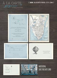 Vintage Globe Wedding Invitation and RSVP Card - Elegant Vintage Wedding Suite with Historic Map