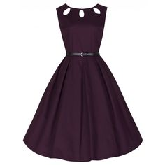 new arrival a45b1 814e4  Lily  Cute And Classy Cut Out Neckline 50 s Rockabilly Style Dress In  Damson Pin