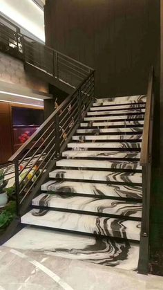 Panda White marble stairs by CK Stones Thailand.You can find Thailand and more on our website.Panda White marble stairs by CK Stones Thailand. Marble Staircase, Tile Stairs, Concrete Stairs, Modern Staircase, House Stairs, Granite Stairs, Stairs Tiles Design, Railing Design, Stair Railing