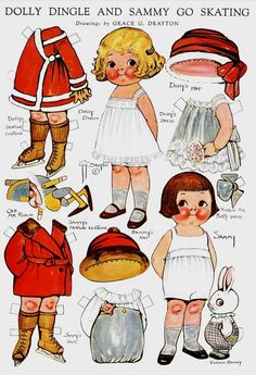 Dolly Dingle-and Sammy Go Skating paper dolls