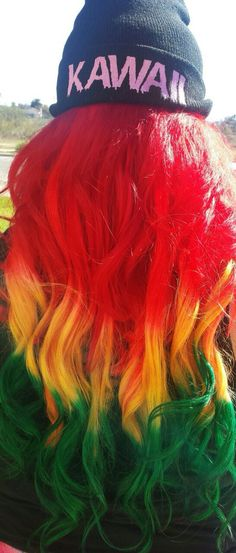 @pauthemonster Dyed hair (:  Red yellow green hair (:  Rasta hair c;