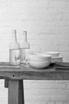 Remodelista: Home design and remodeling resource White Brick Walls, White Wood, Grey And White, Wall Dining Table, Kitchen Dining, Bed Table, Kitchen Cupboards, Interior Styling, Interior Design