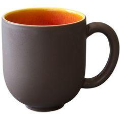 Jars Tourron Mug - Orange (£15) ❤ liked on Polyvore featuring home, kitchen & dining, drinkware, orange, orange stoneware, orange mug, stoneware jar, jar mug y colored jars