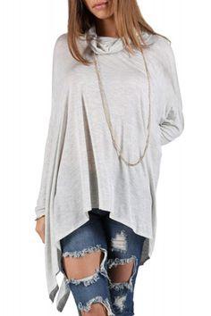 63181c8caf01c Stylish Cowl Neck Long Sleeve Asymmetrical Loose-Fitting Women s T-Shirt