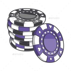 Stack of Gambling Chips by Snitovets Black and Violet Stack of Gambling Chips, Casino Tokens Isolated on a White Background. Colored Contour Drawing. Retro Design. Vec