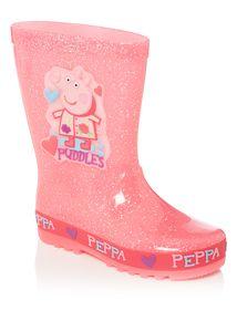 Girls Pink Peppa Pig Glitter Wellies