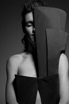 Sculptural Fashion - black dress with elongated panels inspired by a cubist painting - architectural fashion; 3D fashion // Timothy K