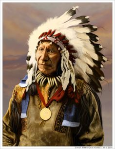 """Nephew of the Sioux chief """"American Horse"""", who was involved in the fight at Little Big Horn and who was killed in 1876. He then took the name of his uncle and became chief """"American Horse"""" (the younger). He died in 1908"""