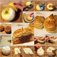 Apples filled with chocolate Nutella wrapped in puff pastry Apple Desserts, Apple Recipes, Fall Recipes, Sweet Recipes, Dessert Recipes, Apple Cakes, Chocolate Nutella, Chocolate Recipes, Individual Apple Pies