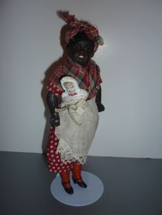 Antique, Black, Mammy doll, holding baby- All Original Condition from doll-lighted on Ruby Lane-$795