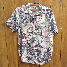 mens pastel grunge short sleeve shirt - 80s 90s vintage abstract