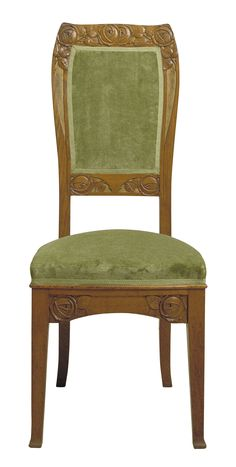 Gaspar Homar | Upright chair. Comes from the living room on the main floor of Casa Lleó Morera, Passeig de Gràcia, 35, Barcelona. Oak wood, gilded carved bas-relief and green velvet upholstery. Circa 1905.