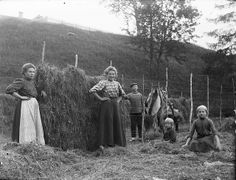 Hay-making in Stongfjorden. Photo by Paul Strang. Farm Women, Wall Art Prints, Poster Prints, Vintage Photographs, Old Photos, Wonders Of The World, Norway, Painting, Working Class