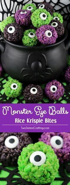Monster Eye Balls Rice Krispie Bites - these yummy, bite-sized balls of crunchy, marshmallow-y delight have a creepy monster eye and fun Halloween colors! This is a Halloween dessert that is easy to make and even better to eat. These colorful and festiv Postres Halloween, Recetas Halloween, Soirée Halloween, Dessert Halloween, Halloween Goodies, Halloween Food For Party, Halloween Coloring, Easy Halloween Treats, Halloween Potluck Ideas