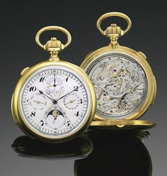 **Vacheron Constantin, YELLOW GOLD MINUTE REPEATING PERPETUAL CALENDAR SPLIT CHRONOGRAPH CHRONOMETER WATCH WITH MOON-PHASES AND REGISTER MVT 400293 CASE 228459 CIRCA 1925