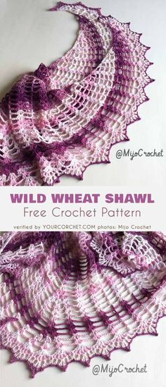 Wild Wheat Shawl Free Crochet Pattern #freecrochetpatterns #crochetshawl #summerstyle #shawl