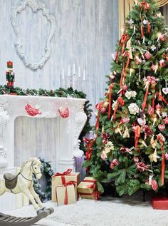 5309 Christmas Tree Rocking Horse Indoor Interior Backdrop