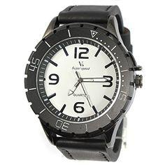 MapofBeauty Modisch und Stilvoll Einfach Analoges Quarzwerk Uhren Schwarz Leder Uhrenarmband Herren Armbanduhr (Schwarz Band/Wei Wählen) - http://uhr.haus/mapofbeauty/mapofbeauty-modisch-und-stilvoll-einfach-uhren-8