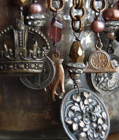 Collageantique vintage french assemblage necklace by Opaline1214