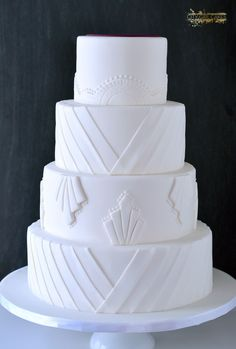 Simple Art Deco Wedding Cake - 1 more layer than we'll probably need, but I like the style...