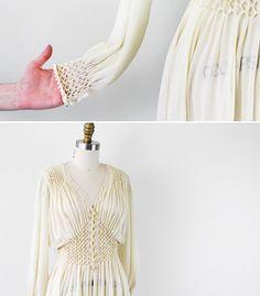 vintage 1930s 30s wedding dress // Antique White Silk Chiffon