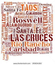 Word Cloud in the shape of New Mexico showing some of the cities in the state - stock photo