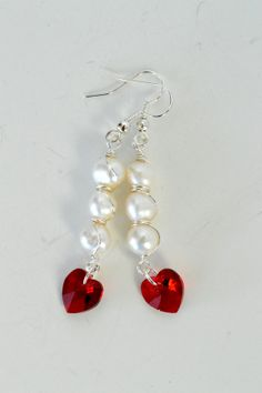 Wire Wrapped Freshwater Pearl and Red Heart Crystal by DebbieRenee, $24.00