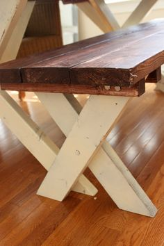 Distressed Wood Stained Painted Bench for Farm Table Vintage White Legs. $125.00, via Etsy.