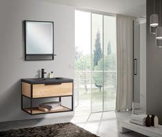 B-Stone Puro eiken badmeubel met zwart frame en wastafel 80cm - SK27450 | Sanitairkamer.nl