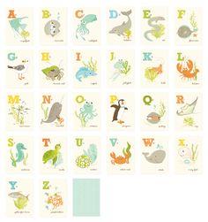 Sea Creatures Alphabet Wall Print Set