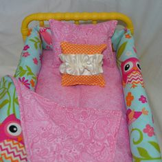 Cute owl print available in this doll cradle bedding set. Can also be made for an 18 inch doll bed.