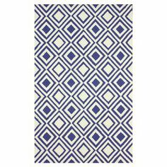 Hand-hooked wool rug with a diamond motif.  Product: RugConstruction Material: 100% WoolColor: Blue and whiteFeatures: Hand-hooked Note: Please be aware that actual colors may vary from those shown on your screen. Accent rugs may also not show the entire pattern that the corresponding area rugs have.Cleaning and Care: These rugs can be spot treated with a mild detergent and water. Professional cleaning is recommended if necessary.