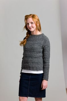 Heather Raglan - Media - Knitting Daily. Bands of stockinette and reverse stockinette. Pattern only avail in pkg.