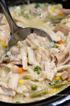 Crock Pot Chicken and Noodles is the ultimate comfort food. Juicy chicken, vegetables and tender noodles in an easy creamy broth cooks up effortlessly in your slow cooker. This is the perfect way to use up any leftover chicken (or turkey) or even veggies you may happen to have in your fridge and takes just …