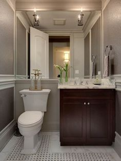 I'm liking the grey walls and the mirror across the back of the wall - makes small room seem huge! Powder Room Design, Pictures, Remodel, Decor and Ideas - page 5