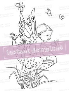 Digi Stamp/Coloring Page - Baby Boy Fairy - Printable Craft Design Instant Download Sheet by Selina Fenech