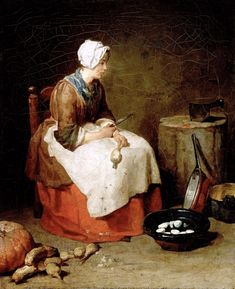 Jean Baptiste Simeon Chardin The Kitchen Maid, , National Gallery of Art, Washington. Read more about the symbolism and interpretation of The Kitchen Maid by Jean Baptiste Simeon Chardin. 18th Century Clothing, 18th Century Fashion, 17th Century, Kitchen Maid, Jean Baptiste, National Gallery Of Art, Oil Painting Reproductions, Caravaggio, Working Woman